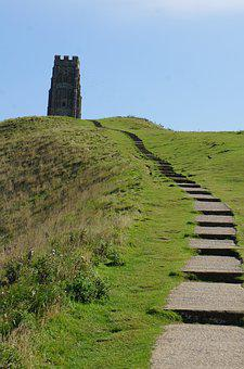 Glastonbury, Tor, Devon, New Age, Steps, Summit, Tower