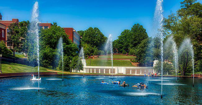 Clemson University, Pond, Fountain, Students Swimming