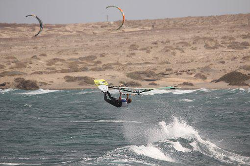 Wind Surfing, Sea, Surfboard, Tenerife, Water, Sand