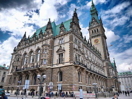 Hamburg, Town Hall, Sky, Hdr, Germany, Architecture