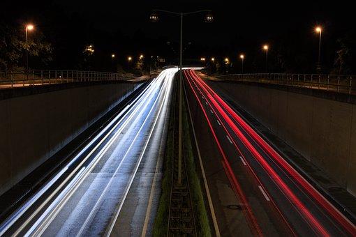 Highway, Augsburg, Road, Lights, Traffic, Long Exposure