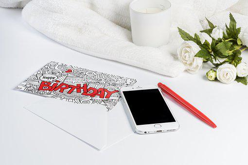 Birthday, Map, White Background, Red, Greeting