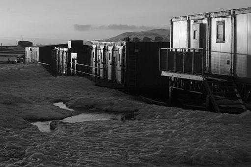 Antarctica, Laboratories, Sunset, Black And White