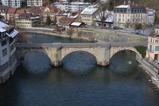 Switzerland, Bern, Bridge, Architecture, City, Winter