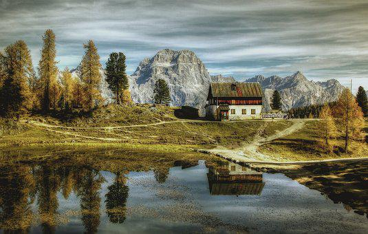 Hut, Autumn, Dolomites, Nature, Landscape, Sky
