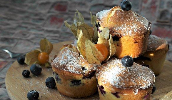 Muffins, Blueberries, Dessert, Blueberry, Cake, Candy