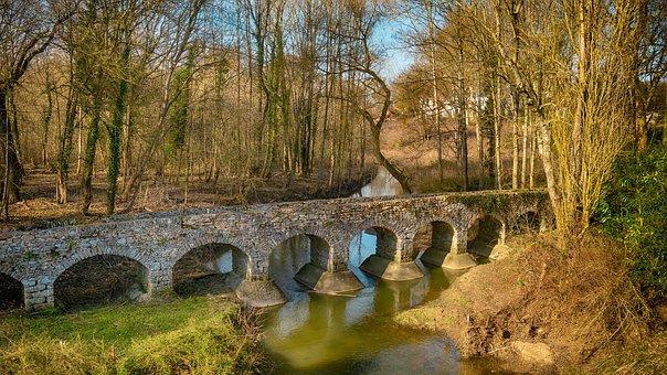 Breau, France, Footbridge, Water, Landscape, Historic