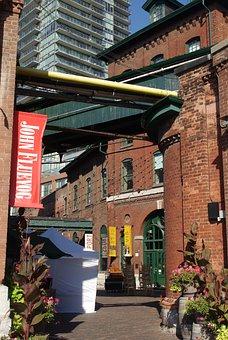 Toronto, Distillery District, Bricks, Colors, Street
