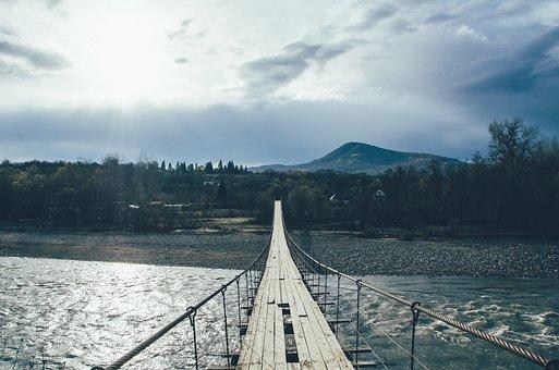 Bridge, Pendant, River, Mountain, Rapid, Tourism