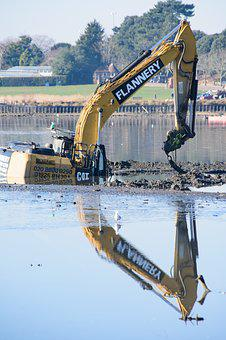 Excavator, Machine, Bucket, Digger, Mud, Water