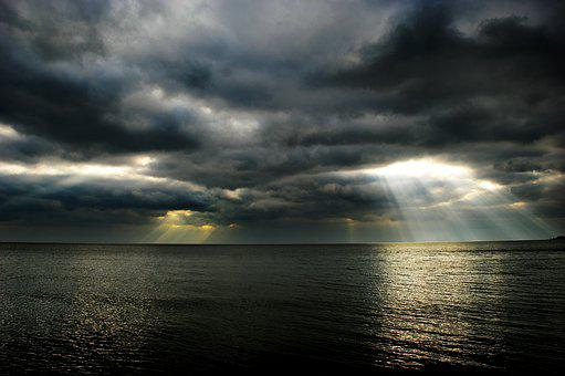Sea, Clouds, Light, Rays, Sky, Landscape, Travel