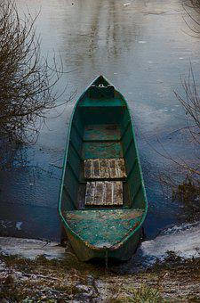 Kahn, River, Ice, Frozen, Water, Boat, Cold, Winter