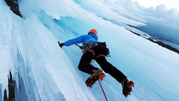 Ice Climbing, Extreme Sports, Climb, Ice, Icefall