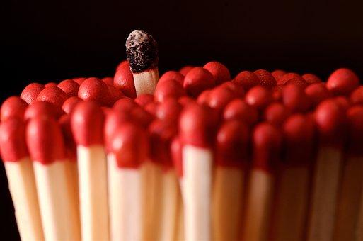 Match, Fire, Stick, Matches, Heat, Burns, Red, Ignition