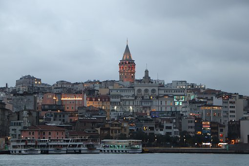 Galata, Istanbul, Eminönü, In The Evening, Sunset