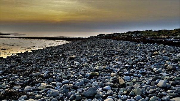 Stone Coast, Ireland, Galway, Bay, Stones, Sun