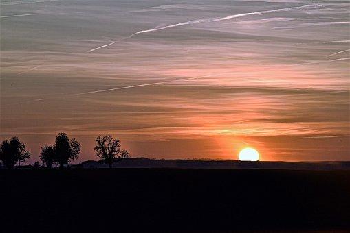 Sunset, Sky, Landscape, Clouds, Horizon, Orange