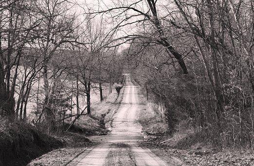 Black And White Road, Black, White, Landscape, Nature