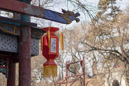 China, Lanterns, Red, Winter, Rustic, Nature