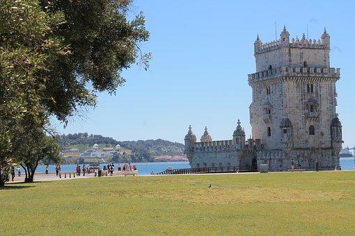 Belem, Tower, Tagus, Tejo, Lisbon, Portugal, Garden