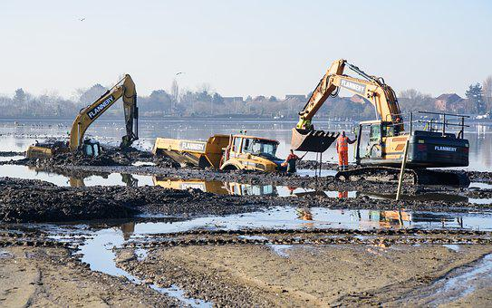 Digger, Mud, Digging, Excavator, Machine, Water