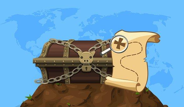 Treasure, Box, Map, Adventure, Lock, Old, Pirate