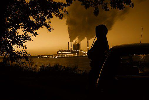 Power Station, Smoke, Character, Man, Chimneys
