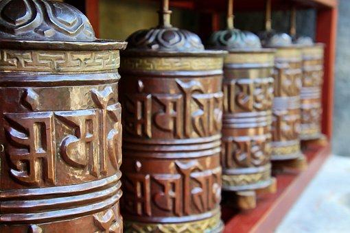 Prayer Wheels, Mantra, Metal, Prayer, Pray, Buddhism