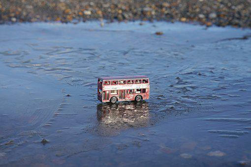 Bus, Toy Bus, Double Decker, Red Bus, Frozen Puddle