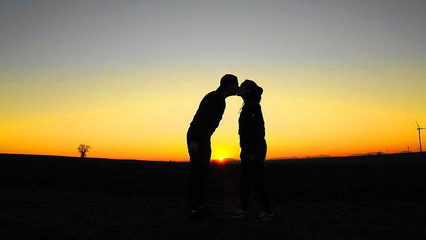 Love, Kiss, Young Couple, Evening Sky, Silhouette, Pair