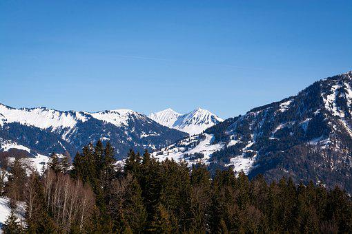 Landscape, Winter, Nature, Sky, Mountains, Trees
