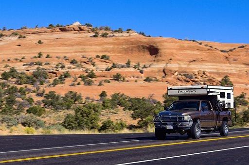 Truck Camper Stop Action, Blur, Truck, Road, Vehicle