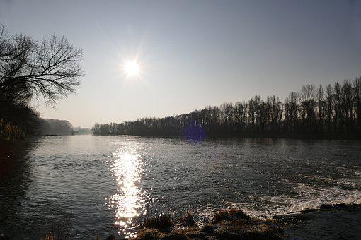 Sun, In The Morning, Water, River, The Sky, Horizon