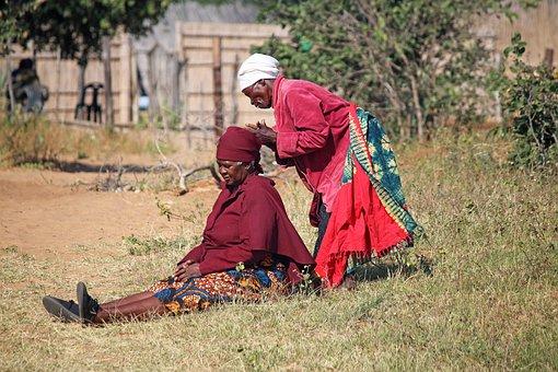 Arranging Headdress, Woman, Local, Africa, Headdress