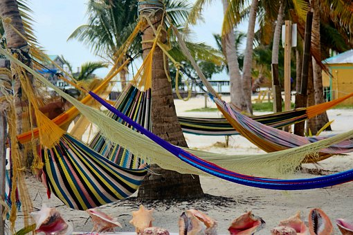 Hammocks, Belize, Caye Caulker, Beach, Palm Trees