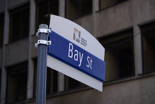 Toronto, Bay St, Financial District, Street Sign