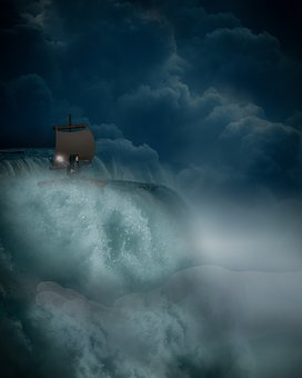 Fantasy, Waterfall, Storm, Boat, Girl, Lantern, Cloud