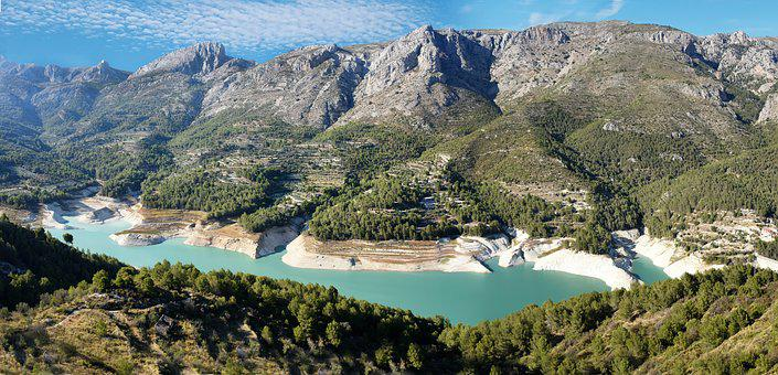 Lake, Mountains, Water, Blue, Spain, Guadalest