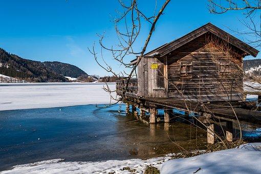 Lake, Boat House, Ice, Water, Sky, Web, Landscape