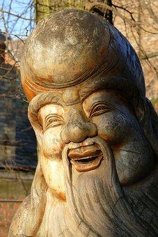 Image, Statue, Wood, Asian, Sculpture, Laugh