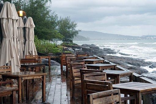 Restaurant, Beach, Tourism, Island, Sea, Sand