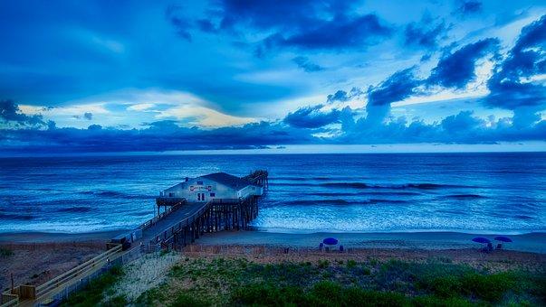Kitty Hawk, North Carolina, Pier, Sea, Ocean, Seashore