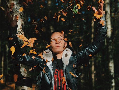 Leaves, Leather Jacket, Forest, Attractive, Nature