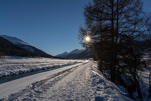 Snow, Away, Sun, Light, Mood, Engadin, Wintry