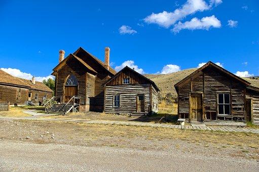 Church And Two Houses, Bannack, Montana