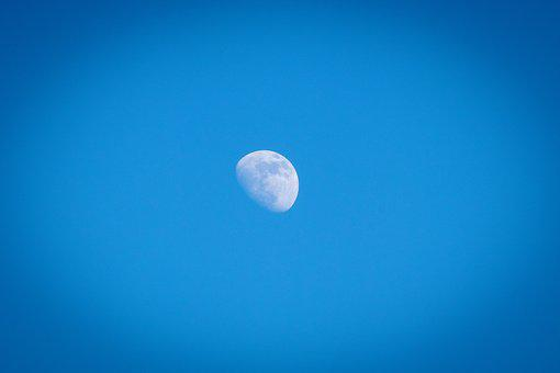 Moon, Sky, Day, Planet, Blue, Partly Cloudy