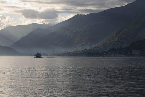 Lake, Nature, Boat, Landscape, Mountains, Alpine, Como