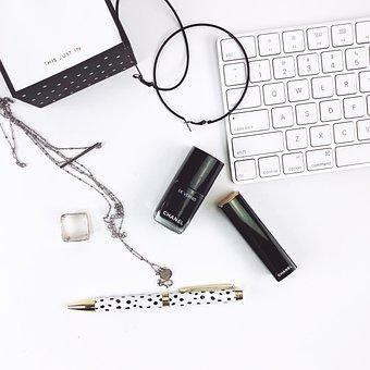 Keyboard, White Desk, Nail Polish, Lipstick, Notes, Pen