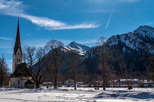 Breakers Pointed, Mountains, Schliersee, Church