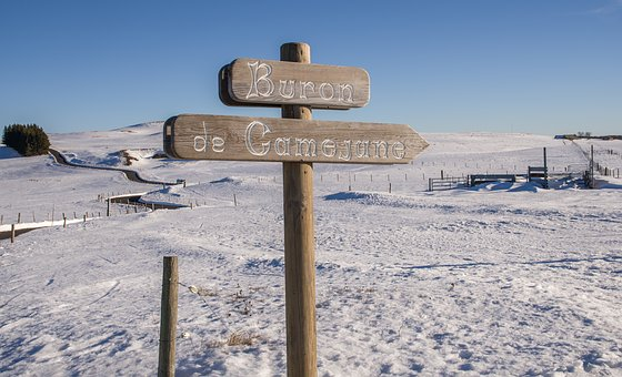Aubrac, Snowy, Panel, Sign, Snow, Fences
